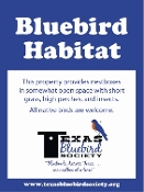 Texas Bluebird Society Sign With Holes in 4 Corners