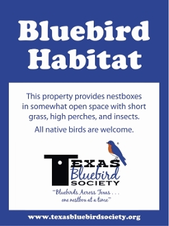 Texas Bluebird Society Sign Without Holes